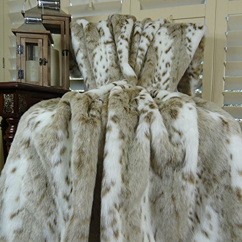 Thomas Collection Luxury white and taupe Siberian Leopard Fa