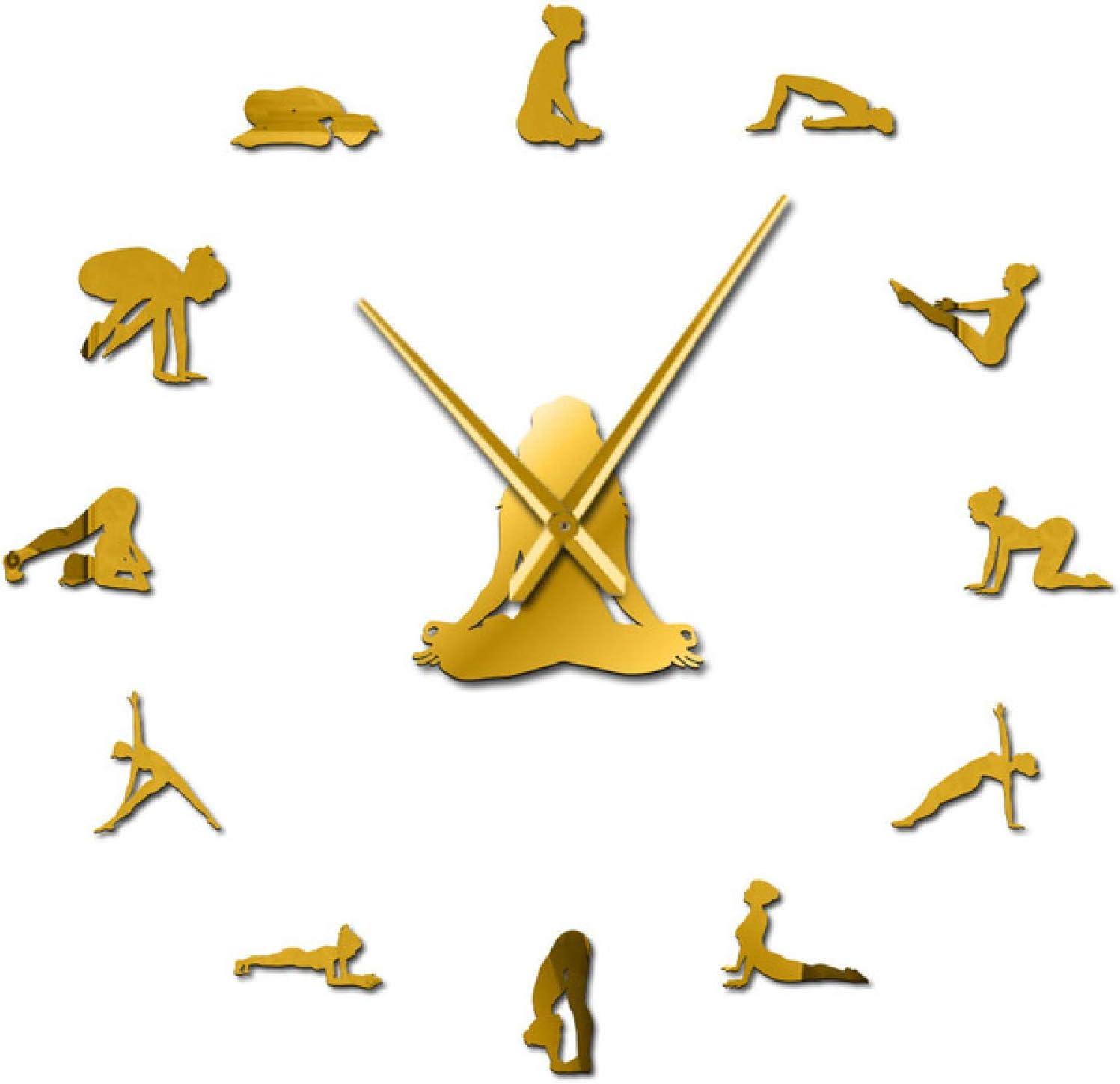 Xinxin Wall Clock Yoga Girl Design DIY 3D Acrylic Wall Clock Special Clock Fashion Home Decor Self Adhesive Quartz Mirror Sticker Gift for Her for Any Room in Home School Caravan Garage