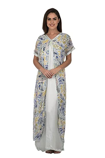 Cattywoo Printed Off White Straight Nightwear Gown For Women  Amazon.in   Clothing   Accessories 03c2faee4