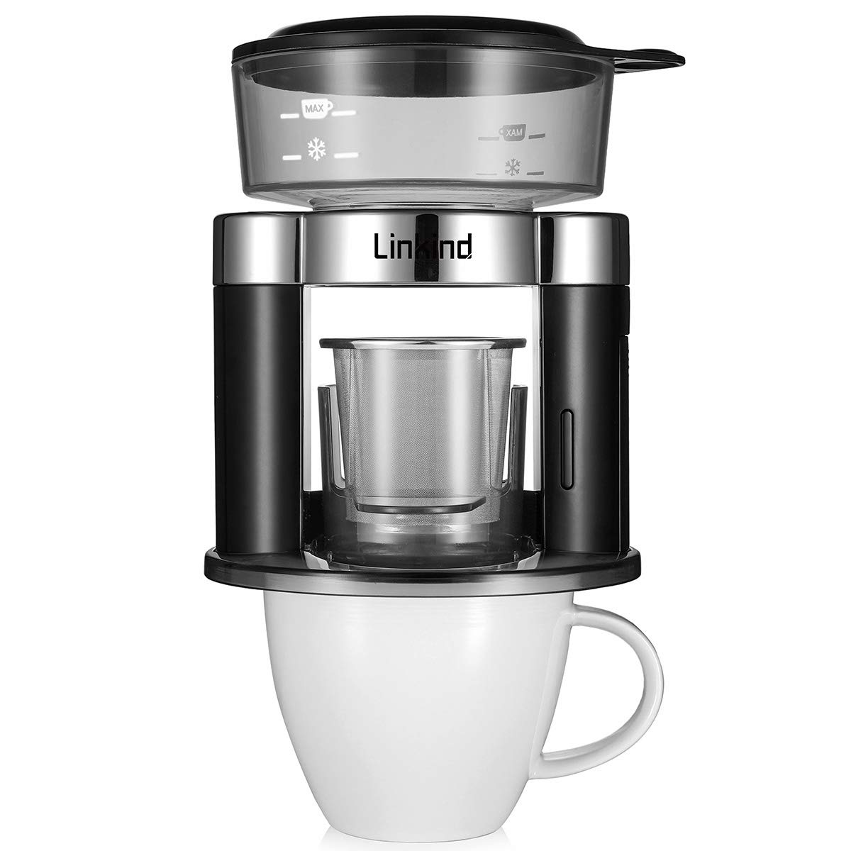 Linkind Automatic Pour Over Coffee Maker, Single Cup Brewer with Reusable Stainless Steel Filter, Simulate Handcraft, Compact in Size, Battery-driven for Portable Indoor and Outdoor Use, Black