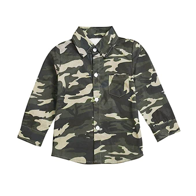 YanHoo Ropa para niños Niños Manga Larga Top Camisa de Camuflaje para niños  Ropa de Blusa d5856af7cf6