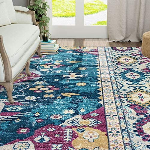 KSANA Patchwork Area Rug 8mm Pile Height with Jute Backing, 8 x 10 , Collection-8