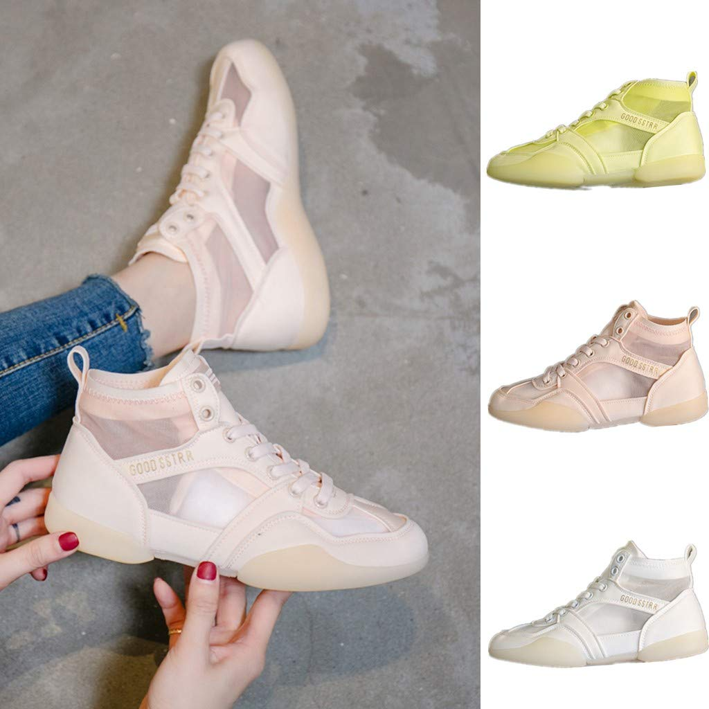 Moonker Women Sneakers Wide Width Support Walking Shoes Ladies Girls Fashion High Tube Fitness Soft Mesh Casual Shoes