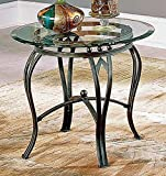 Cheap Steve Silver Madrid End Table w Glass Top in Antiqued Pewter Finish