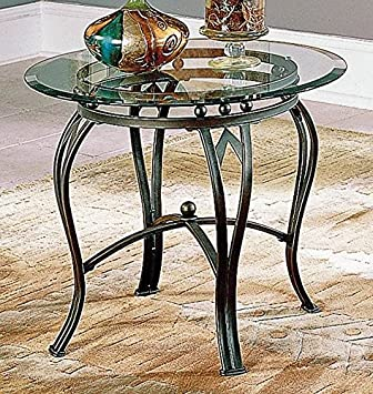 Amazon.com: Madrid mesa auxiliar W parte superior de vidrio ...
