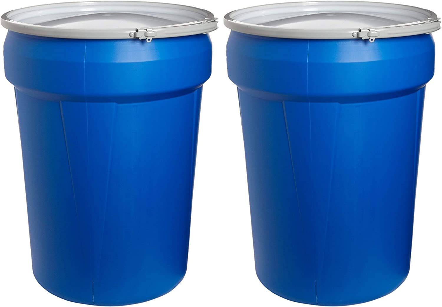 Eagle 1601MB Blue High Density Polyethylene Lab Pack Drum with Metal Lever-Lock Lid, 30 Gallon Capacity, 28.5