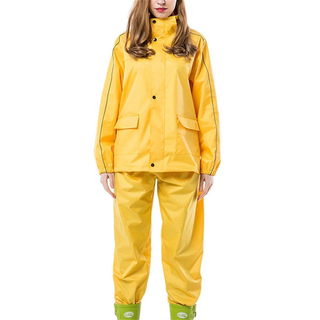 Mj-cj Rainsuit- Reusable Rainwear (Rain Jacket and Rain Pants Set) Adults Hooded Outdoor Work Motorcycle Golf Fishing Hiking Hunting (Color : Yellow, Size : XL)
