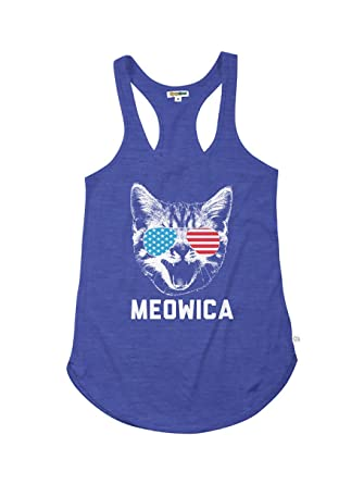 1effcd9f0b Women's Patriotic Cat Tank Top - Red White and Blue American Flag Tank Top  T Shirt