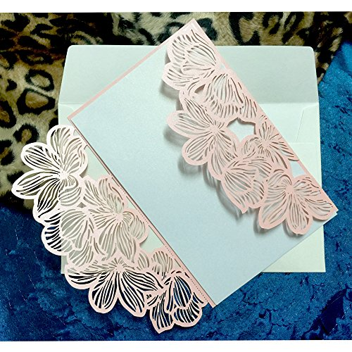 WOMHOPE® 50 Pcs - Flower Petals Hollow Laser Cut Lace Shimmer Wedding Invitation Party Invitations Cards Birthday Invitations Cards Wedding Favors (Pink)