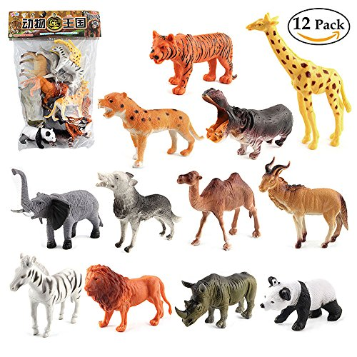 GREATLOVE 12 Pieces of Plastic Wildlife Model Toys with Tiger, Giraffe, Leopard, Hippocampus, Elephant, Wolf, Camel, Tibetan Antelope, Zebra, Lion, Rhinoceros and Panda (Tibetan Camel)