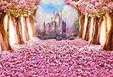 AOFOTO 7x5ft Spring Cherry Blossom Backdrop Dreamy Castle Sweet Sakura Flower Tree Photography Background Floral Petal Boulevard Photo Studio Props Kid Baby Infant Newborn Artistic Portrait Wallpaper
