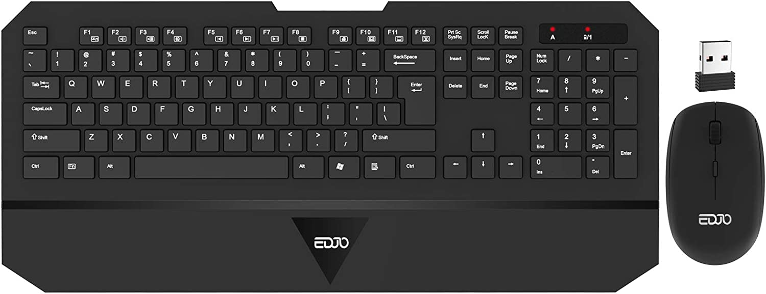 Wireless Keyboard and Mouse Combo, EDJO 2.4G Full-Sized Silent Computer Keyboard with Palm Rest and 3 Level DPI Adjustable Wireless Mouse for Windows, Mac OS PC/Laptop/Desktop