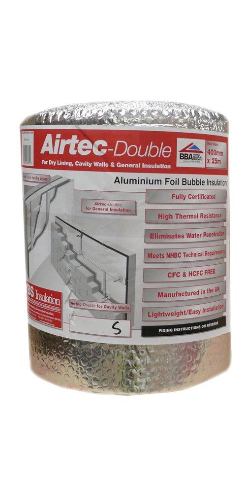 Airtec Airtec Double 400mm x 25m x 3.7mm - Accesorio para el aislamiento del hogar (pack de 1): Amazon.es: Bricolaje y herramientas