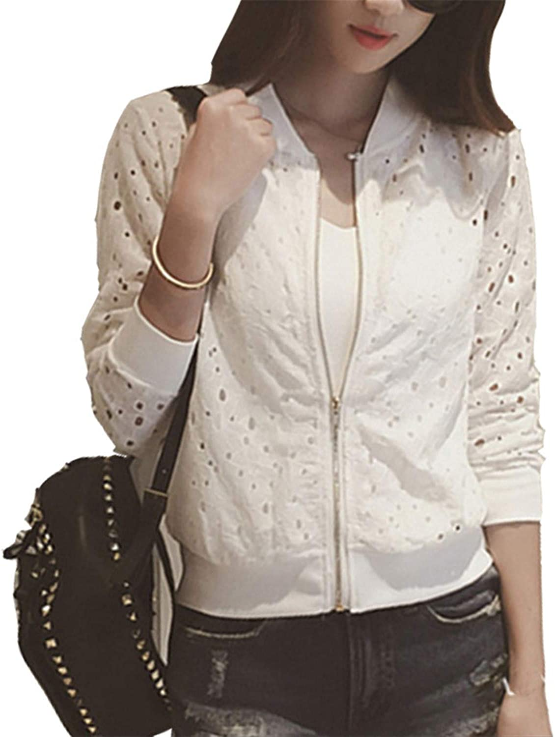 Lace Hollow Out Jackets Spring Summer Casual Slime Women Thin Jacket Plus Size
