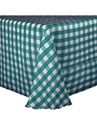 Ultimate Textile 5 Pack 132 Inch Square Polyester Gingham Checkered Tablecloth For Picnic Outdoor Or Indoor Party Use Teal And White