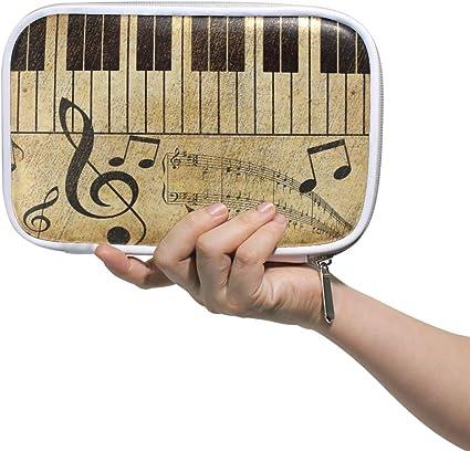 Funnyy Musical Piano Music Note Vintage Pen Bag Estuche multifuncional con cremallera Bolsa de viaje Maquillaje cepillo cosmético bolsas para niños estudio mujer hombre trabajo: Amazon.es: Oficina y papelería
