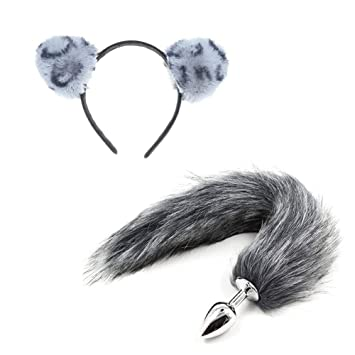 f38268e2446d Image Unavailable. Image not available for. Color: Grey Leopard Cat Ears  Headbands Fox Tail Costume ...