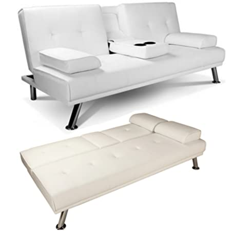 Lovely White Faux Leather Sofa Bed Double Click Clack Settee 2 Seater / 3 Seater  Modern Living