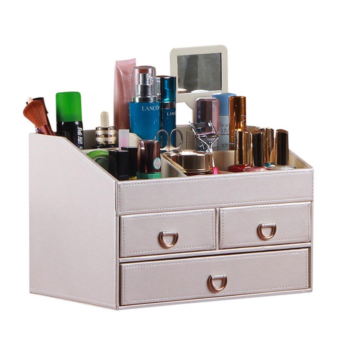 化粧品収納ボックスホーム引き出し付きデスクトップオーガナイザー多機能収納仕上げボックス(30 * 20 * 20cm) (色 : 白) B07PS5LB8C 白