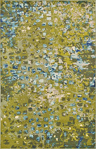 Modern Abstract Geometric 5 feet by 8 feet (5' x 8') Barcelona Green Contemporary Area Rug