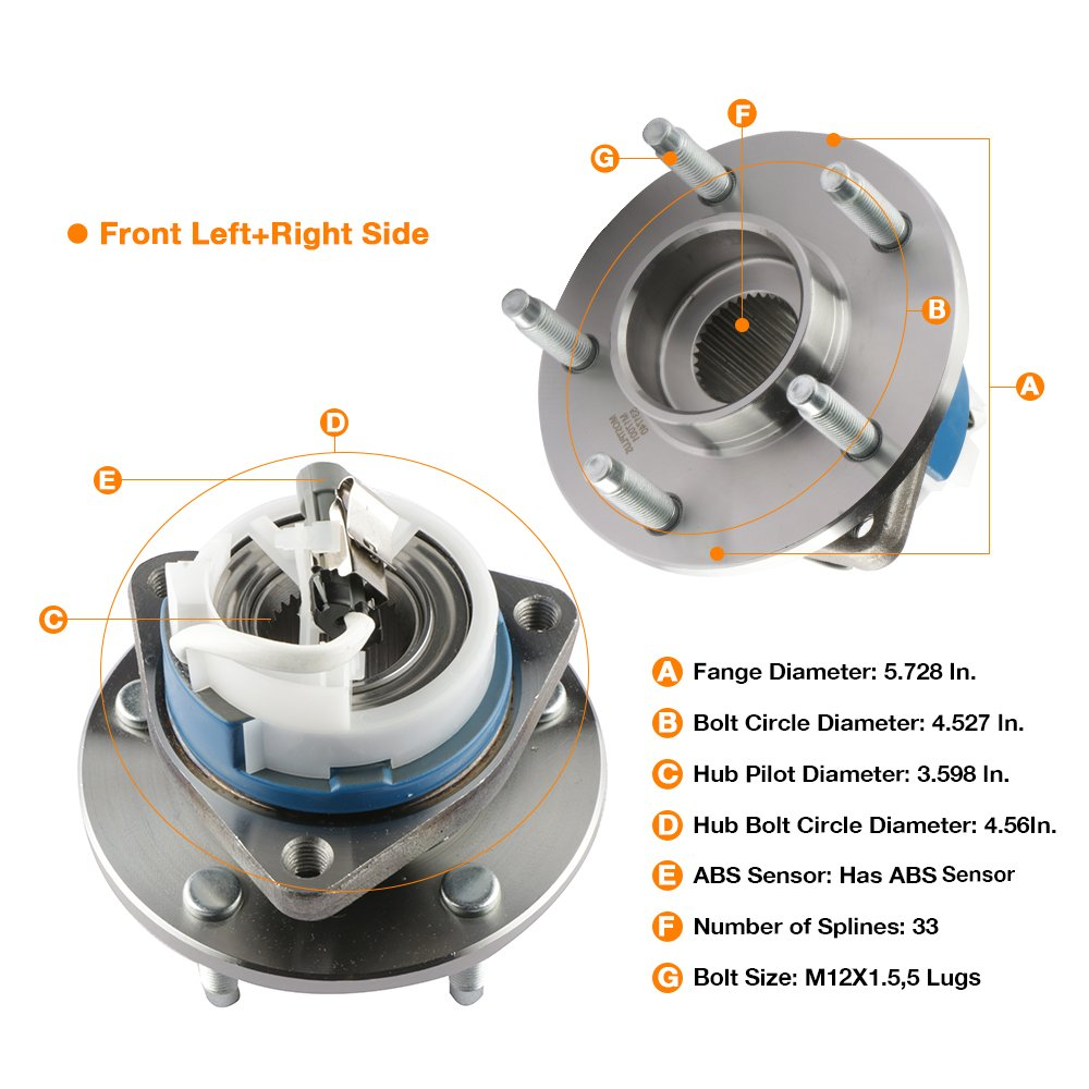 MOSTPLUS Wheel Bearing Hub Front Wheel Hub and Bearing Assembly 515079 for F-150 Heritage Expedition w//ABS 4WD 4x4 6 Lug