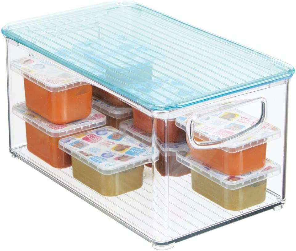 Nappies and More /— Clear//Sea Blue mDesign Nursery Storage Box /— Baby Organiser Box with Lid and Handles /— Storage Container for Clothes
