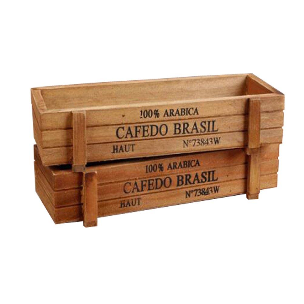 AmgateEu 2 piezas rectangular r/ústico maceta de madera caja contenedora planta