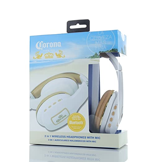 Amazon.com: Corona 2 in 1 Bluetooth Wireless Headphones White/Gold (00702): Electronics