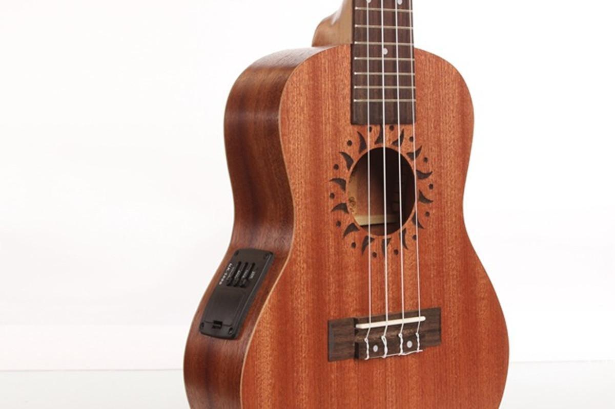 XIE@23 pulgadas caja eléctrica completa ukelele guitarra pequeña de color madera Sapele guitarra ukelele: Amazon.es: Instrumentos musicales