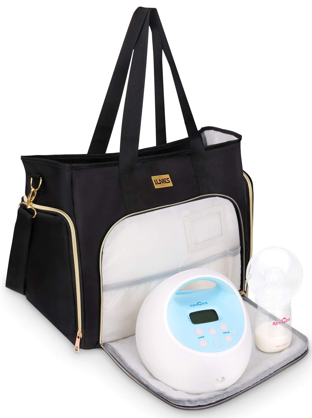 Breast Pump Bag Compatible for Spectra S1,S2,Madela,Lansinoh Electric Breast Pump - Large Capacity & Wide Open - for Mum Travel or Storage - Includes Padded Laptop Sleeve, Insulated Pockets