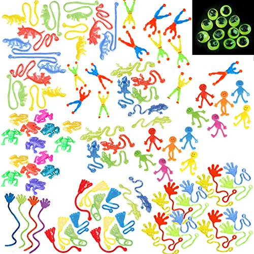 Price comparison product image Assorted Sticky Stretchy Toy Party Favors / 108 Pack / Hands,  Feet,  Frogs,  Smile Face,  Dinosaurs,  Lizards,  Wall Climbers and Glow in Dark Eyes