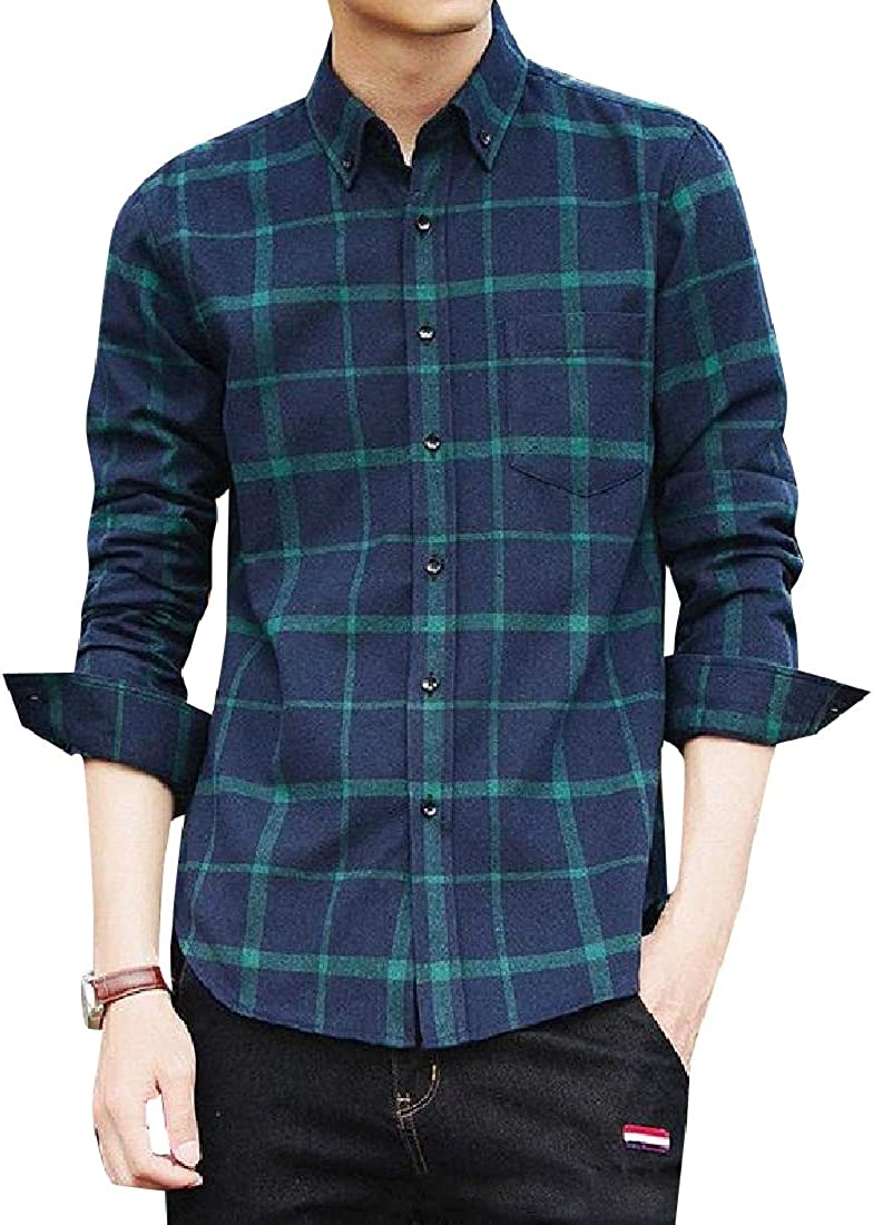 Sebaby Men Regular-Fit Button Down Single Breasted Comfy Western Shirt