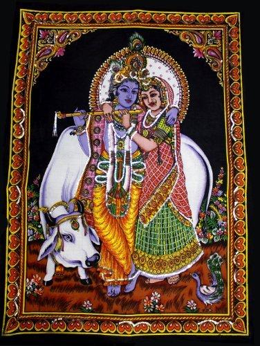 - Lord Krishna & Radha Indian Deity Sequin Batik Cotton Wall Tapestry 40