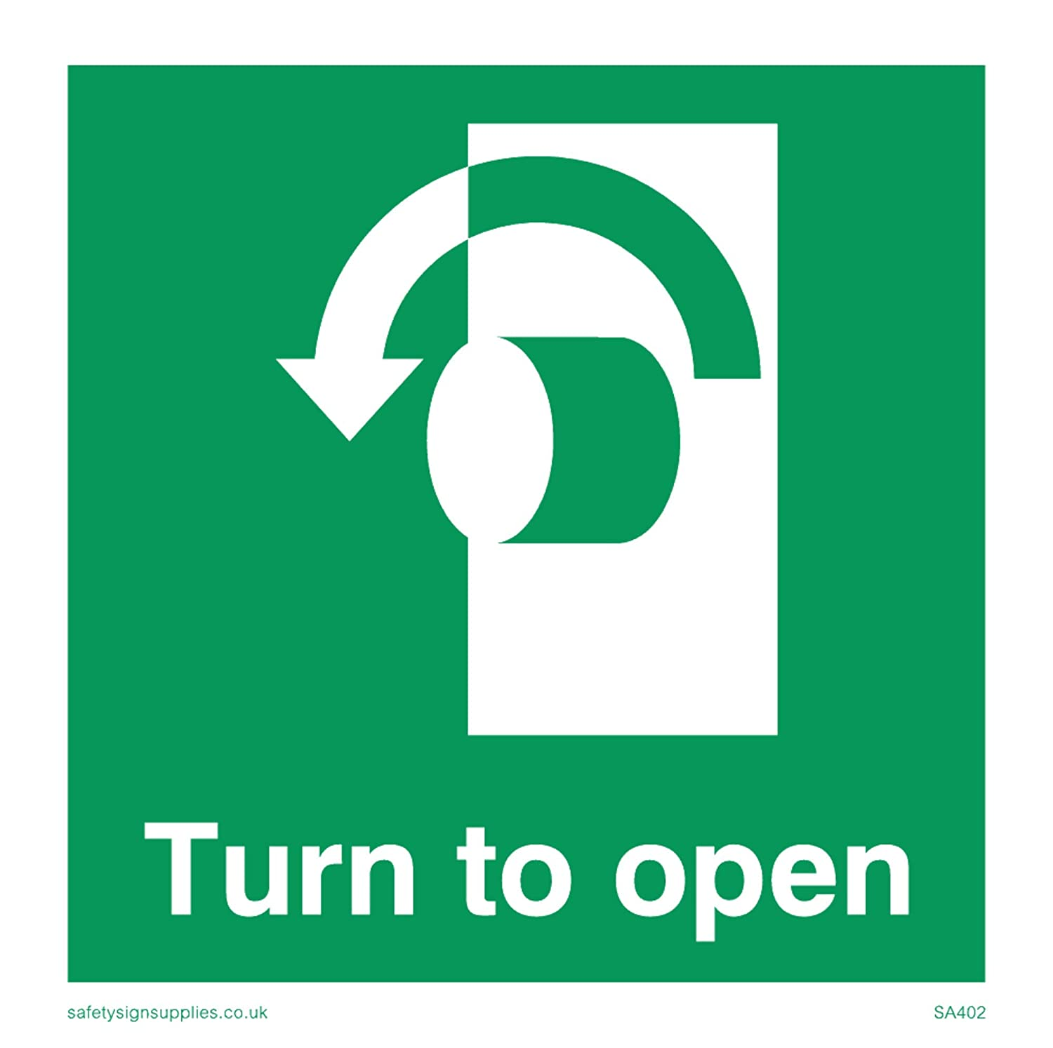 Vinyl Viking Signs SA402-S85-V Left Down ArrowTurn To Open Sign 85 mm H x 85 mm W
