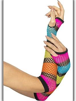 Colourful Mesh Gloves 80s Net Wrist Warmers Net Gloves Rainbow coloured Neon Net Cuffs