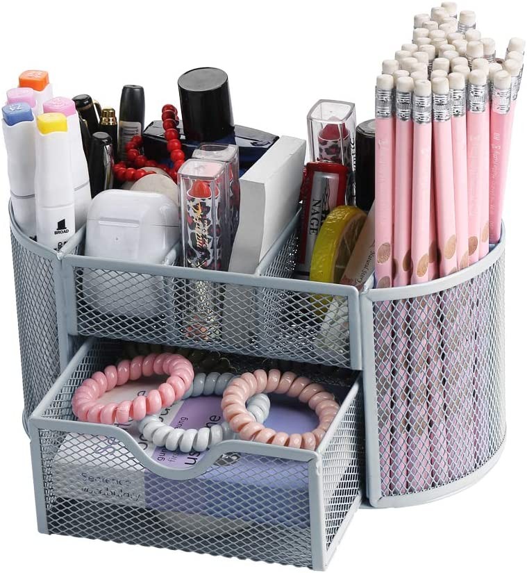 Mesh Desk Organizer,Office Storage Supplies Drawer Organizers,Pencil Holders & Pen Holders,Multifunctional Workspace Supply Organizers Stationery Storage 9 in 1 for Office, Home,School,Classroom