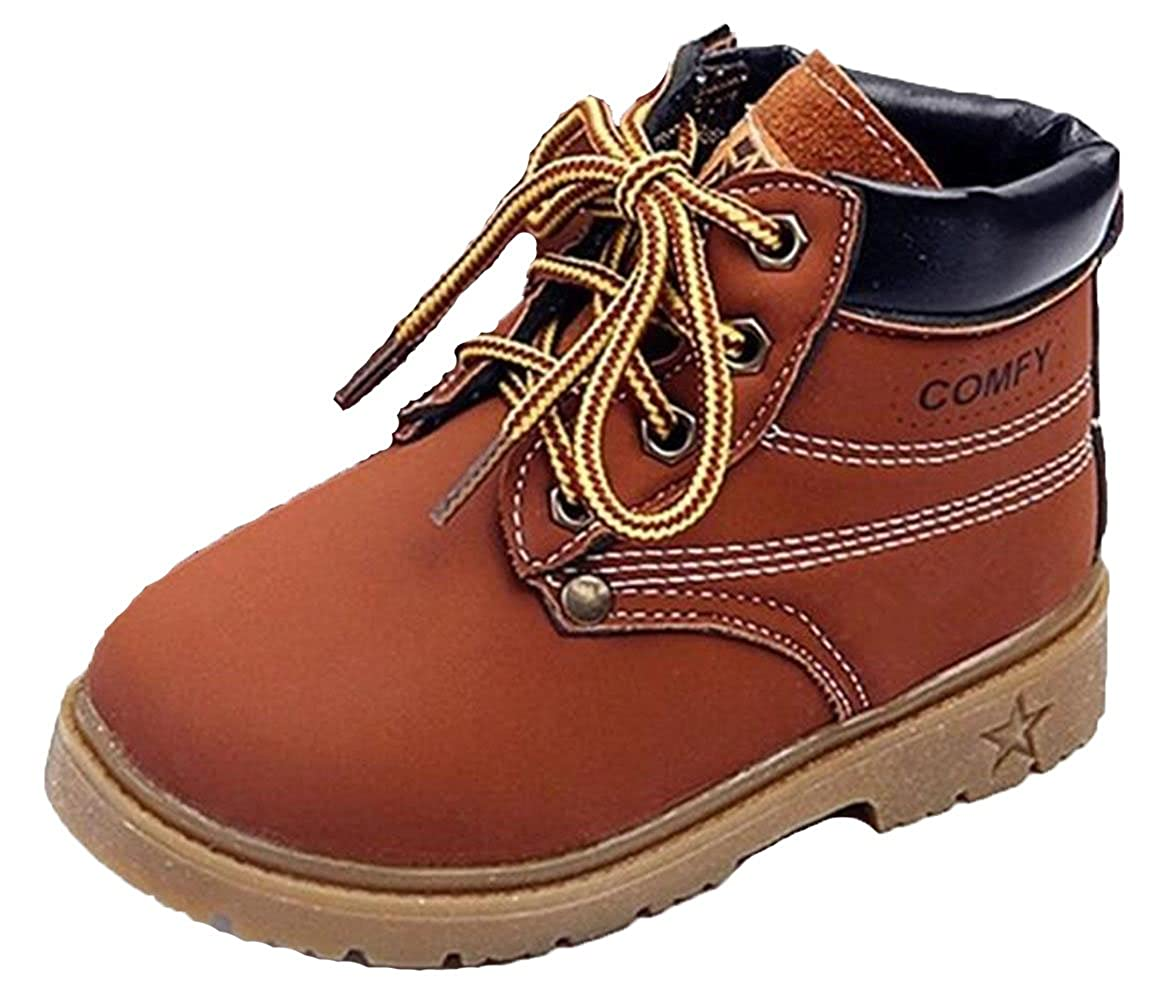 WUIWUIYU Kid's Boy's Girl's Oxfords Waterproof Lace-Up Ankle Snow Boots(Toddler) 71017N