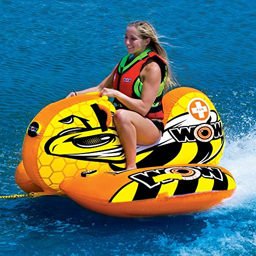 1 Towable Ski Tube (WOW World of Watersports, 14-1040, Buzz Boat, Cockpit Seating, High Backrest Towable Ski Tube, 1 Person)