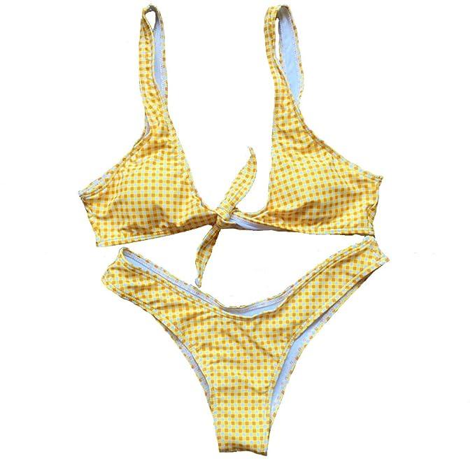 Casa Bikini de Cuadros de Mujer, Traje de baño Desmontable Swimsuit Beach Traje de Dos Piezas Anudado Delantero para Damas: Amazon.es: Ropa y accesorios