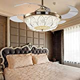 COLORLED Modern Simple American 42-Inch French Gold Invisible Ceiling Fans Living Room Lamp Restaurant Fan Chandelier Lights