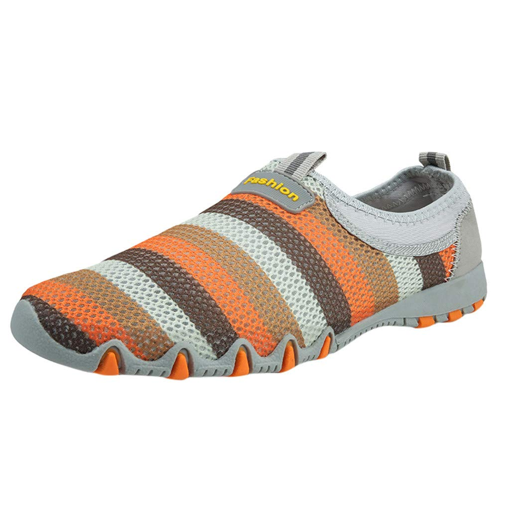 Women's Athletic Walking Shoes Casual Striped Colors Mesh-Comfortable Work Sneakers (Gray, US:5.5)