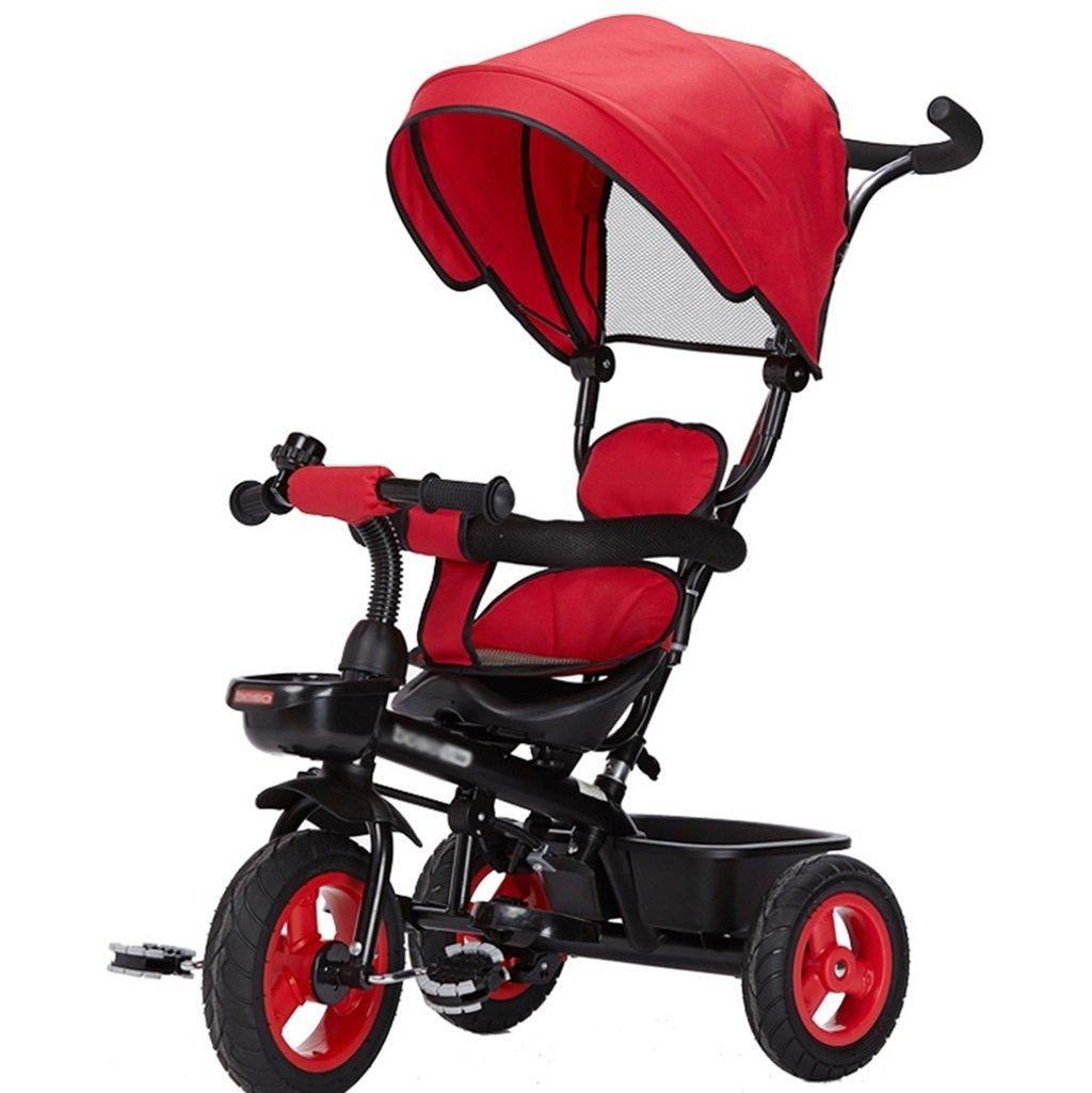 三輪車の赤ちゃんキャリッジバイク子供のおもちゃの車のチタンの空の車の自転車3つの車輪、保護的な天井(少年/少女、1-3-5歳) (色 : 赤) B07DVCRWDM 赤 赤