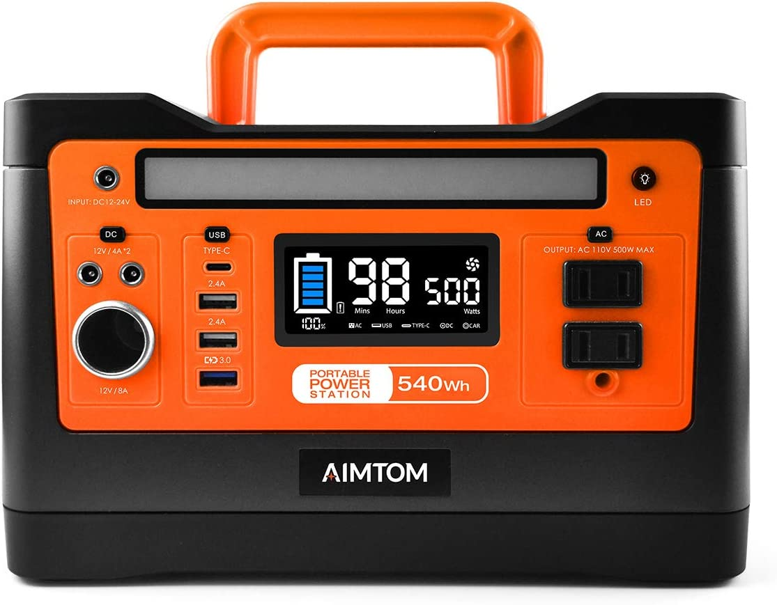 AIMTOM 540Wh Portable Power Station, Lithium Battery Pack with 110V 500W AC, 12V DC, USB, Carport, USB-C, Solar-Ready Generator Alternative Solar Panel Optional for CPAP Outdoor RV Camping Emergency