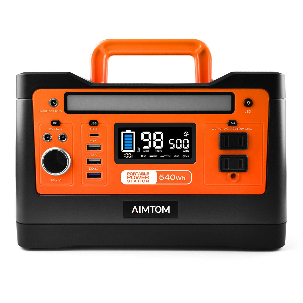 AIMTOM 540Wh Portable Power Station, Lithium Battery Pack with 110V 500W AC, 12V DC, USB, Carport, USB-C, Solar-Ready Generator Alternative Solar Panel Optional for Outdoor RV Camping Emergency