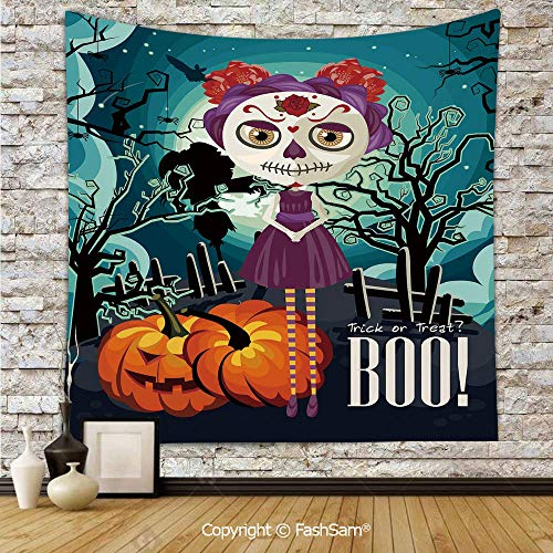(Tapestry Wall Blanket Wall Decor Cartoon Girl with Sugar Skull Makeup Retro Seasonal Artwork Swirled Trees Boo Decorative Home Decorations for)