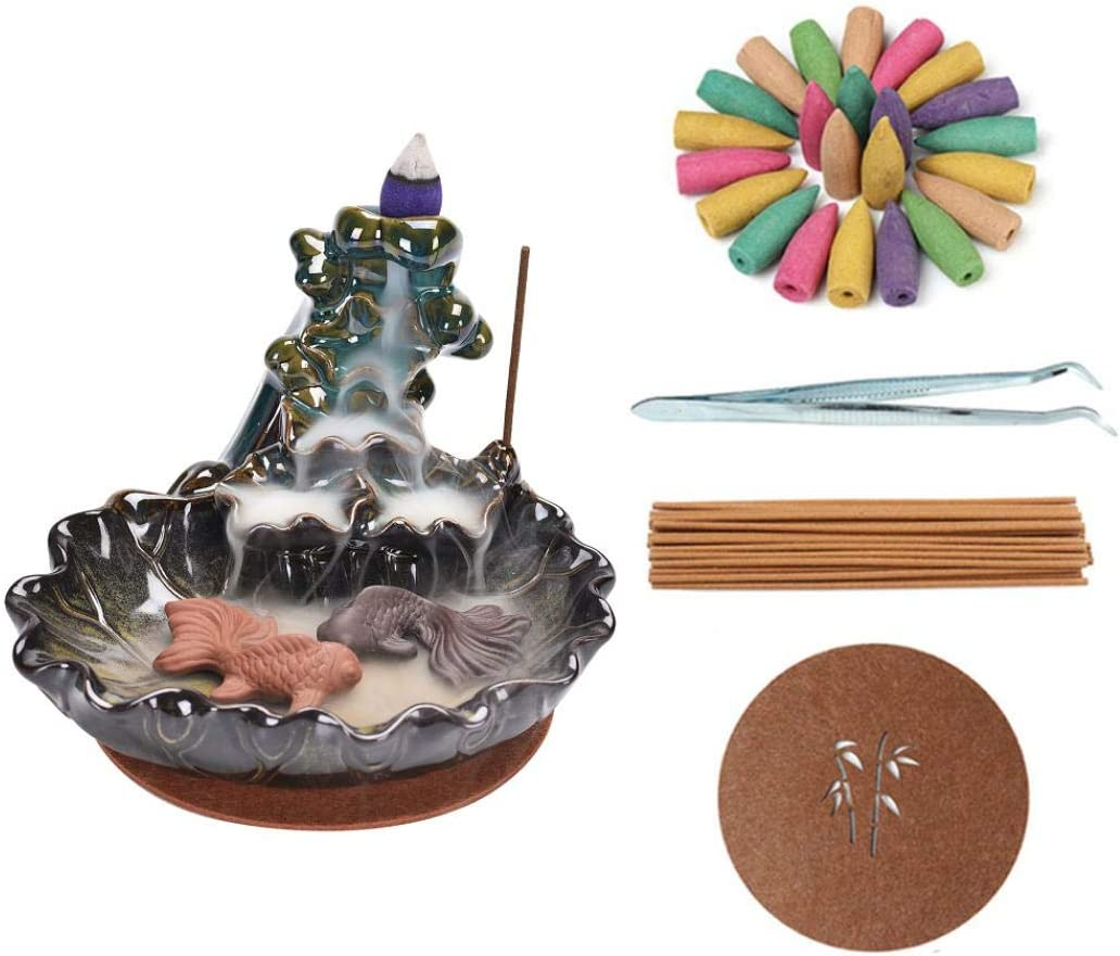 Backflow Incense Holder Ceramic Waterfall Incense Burner Incense Stick Holders with 20 Backflow Incense Cones and 30 Incense Stick for Home Office Handicraft Decoration