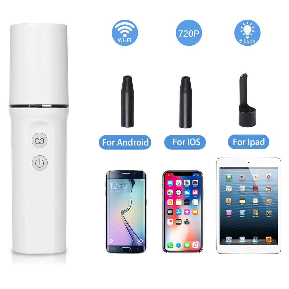 Digital Otoscope,Ear Cleaner Wireless Ear Camera 720P HD Earwax Removal Tool with 6 Adjustable LEDs for iPhone/iPad, Android Phone/Tablet, Windows PC,Samsung