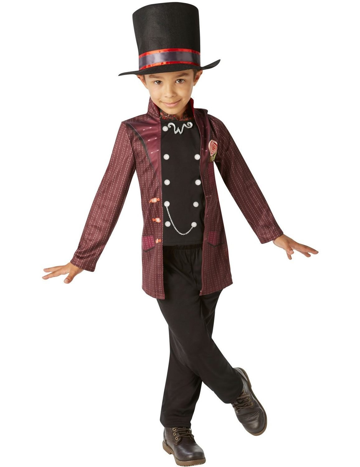 Charlie /& The Chocolate Factory Willy Wonka Adult Top Hat Black Red Rubie/'s