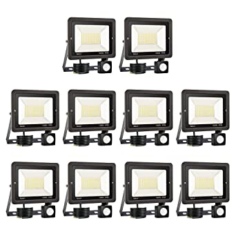 10 * 100W Foco LED con Sensor de Movimiento,Super Brillante 6000K ...