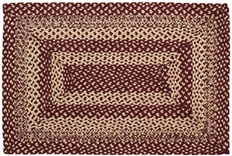VHC Brands 9500 Classic Country Primitive Flooring-Burgundy Tan Jute Red Rug, 20 x 30, Non-Stenciled